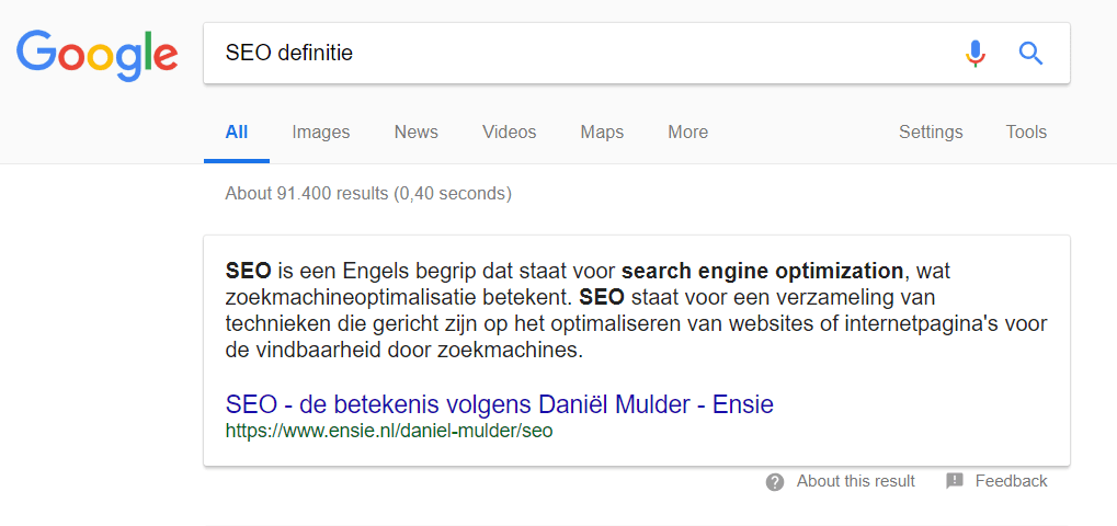 featured snippet: definitie
