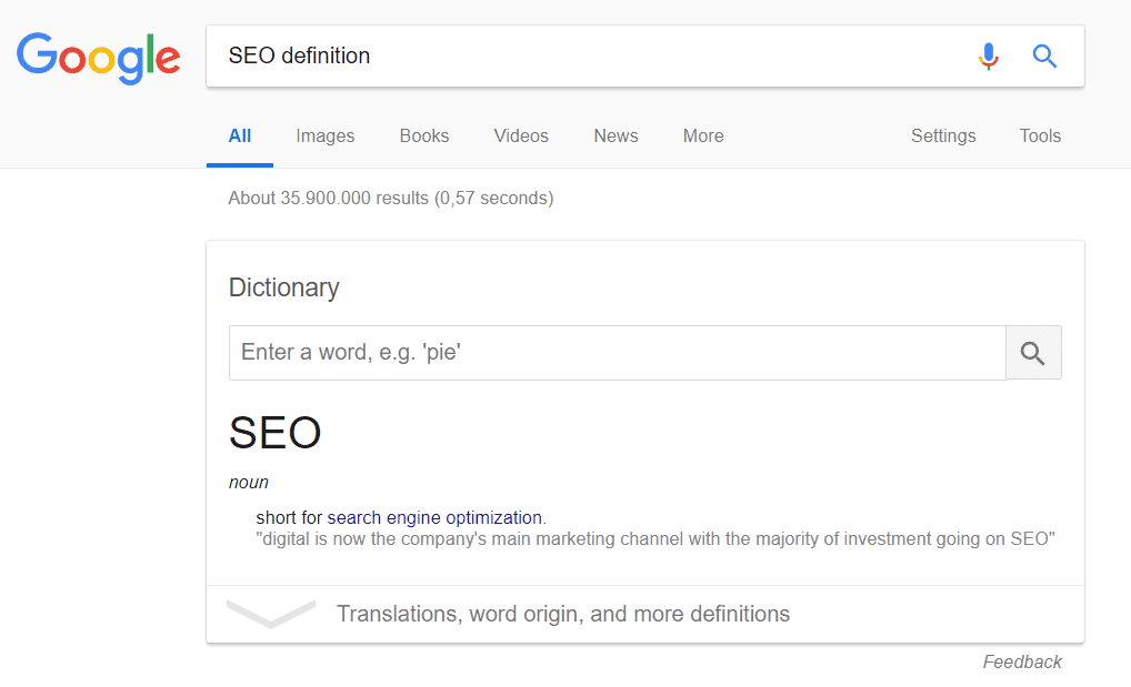 Featured snippet : example of definition