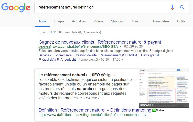 Featured snippet : exemple de paragraphe