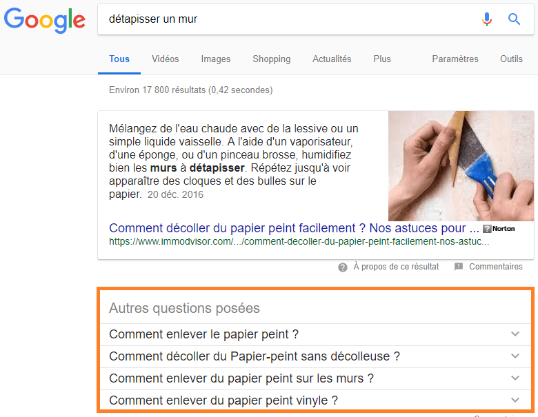 Featured snippet people also asked