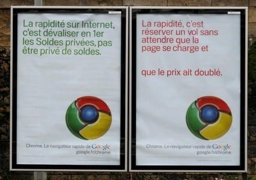 Publicité Google sur l'importance de la vitesse sur le web